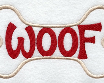 Woof Embroidered Flour Sack Hand/Dish Towel