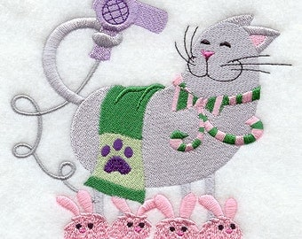 Klean Kitty Drying Hair Embroidered Flour Sack Hand/Dish Towel