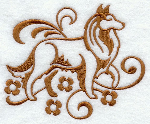 Elegant Damask Collie Embroidered Flour Sack Hand/Dish Towel