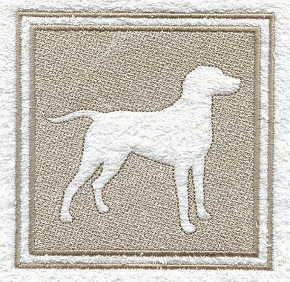 Weimaraner Embossed Style Embroidered Flour Sack Hand/Dish Towel