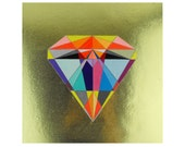 Geometric Neon Painting Panel mixed media - Diamond