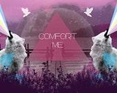 Geometric Art Print Wolf Red Purple - Comfort Me