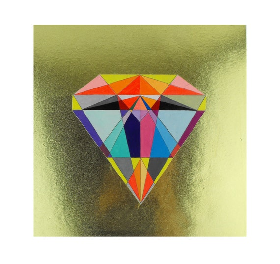 Geometric Neon Painting Panel mixed media - Diamond