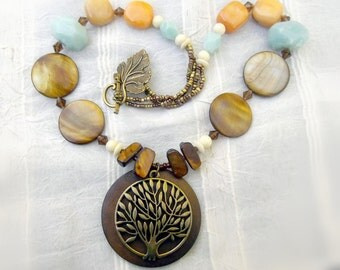 Bronze wood MOP necklace, necklace earring set, gold amber aqua necklace, gold MOP, aqua acrylic, amber jade, offwhite resin: Smooth Sailing