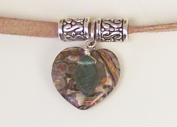 Jasper heart, amber jade, aventurine, antiqued silver, suede leather cord, Boho, earth colors necklace set: Rock Hound
