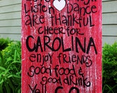 "Wooden Art, Wooden Signs, Wood Signs, College Art, Painted Art, Wood Art, Distressed Wood Sign Art: ""South Carolina Gamecocks Fun Sign"""