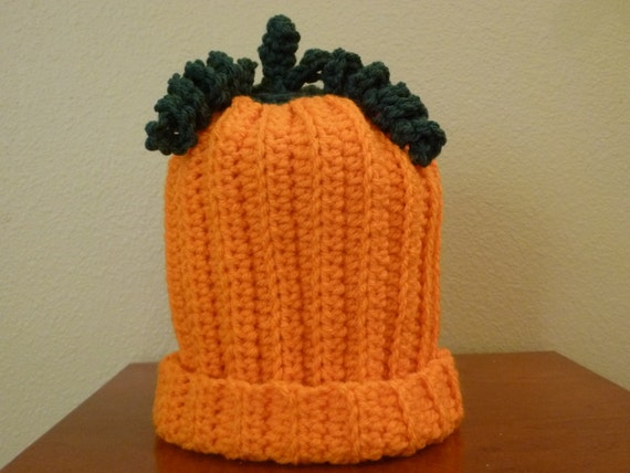 Pumpkin Baby Hat  Size 3 to 6 Months - Ready to Ship -