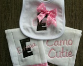 Camouflage and pink burp cloths and matching bib set