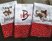 Set of 3 baby boy personalized sock monkey burp cloths