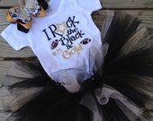 Reserved listing for (2) School colors 4T shirts, black and gold glittery tutu, and matching hair bow