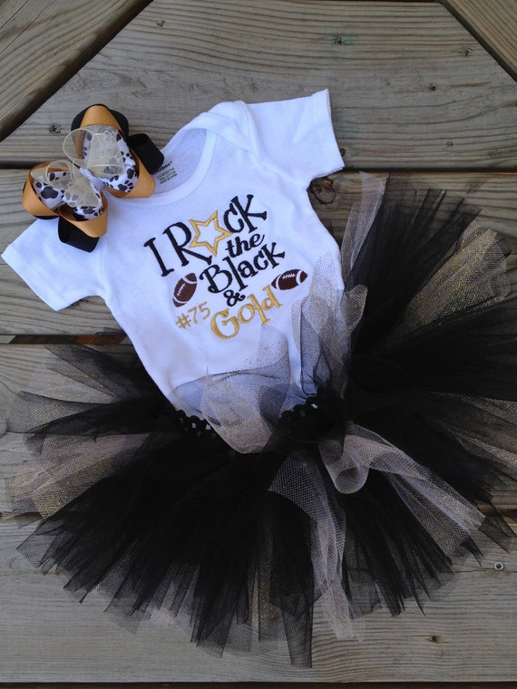 School colors bodysuit, black and gold glittery tutu, and matching hair bow
