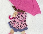 Dancing in the Rain Embroidered Flour Sack Hand/Dish Towel