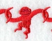 Barrel or Bucket of Monkeys Embroidered Flour Sack Hand/Dish Towel