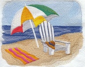 Beach Chair Scenee Embroidered Flour Sack Hand/Dish Towel