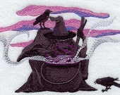 Hocus Pocus Witch and Cauldron Embroidered Flour Sack Hand/Dish Towel