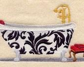 Damask Bath Tub Embroidered Flour Sack Hand/Dish Towel