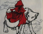 Little Red Riding Hood Embroidered Flour Sack Hand/Dish Towel