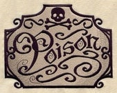 Apothecary Poison Embroidered Flour Sack Hand/Dish Towel