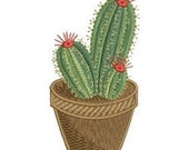 Red Flowered Cute Potted Cactus  Embroidered Flour Sack Hand/Dish Towel