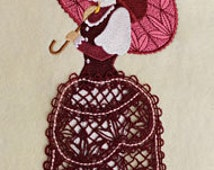 3D Lace Skirt Old Fashioned Lady C Embroidered Flour Sack Hand/Dish Towel