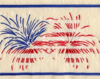 Fourth of July Fireworks Embroidered Flour Sack Hand/Dish Towel