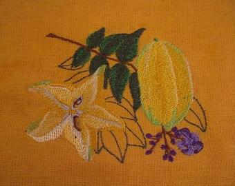 Star Fruit Embroidered Flour Sack Hand/Dish Towel