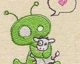 Alien with Cow Adorable Embroidered Flour Sack Hand/Dish Towel