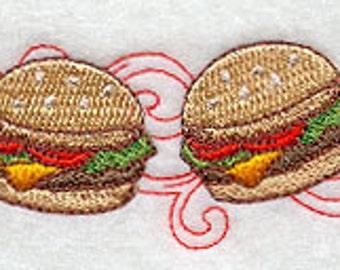 Retro Hamburger Border Embroidered Flour Sack Hand/Dish Towel