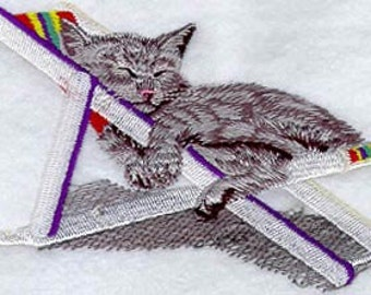Cat Nap - Embroidered Flour Sack Hand/Dish Towel