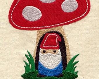 Gnome Sweet Gnome FLEECE APPLIQUE Embroidered Flour Sack Hand/Dish Towel