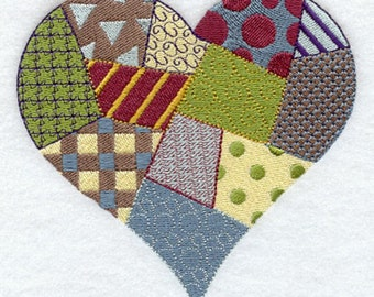 Patchwork Heart Embroidered Flour Sack Hand/DIsh Towel