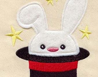 Rabbit in the Hat FLEECE APPLIQUE  Embroidered Flour Sack Hand/Dish Towel