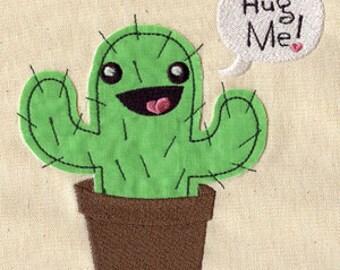 Hug Me Cactus FLEECE APPLIQUE  Embroidered Flour Sack Hand/Dish Towel