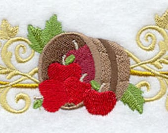 Fall Filigree Apple Border Embroidered Flour Sack Hand/Dish Towel