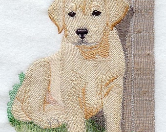 Golden Retriever Puppy Embroidered Flour Sack Hand/Dish Towel
