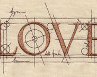 LOVE Architect Embroidered Flour Sack Hand/DIsh Towel