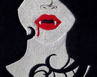 Vampire Girl Embroidered TERRY CLOTH BATH Towel