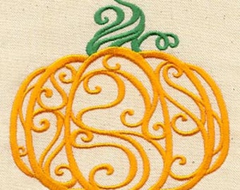 FIligree Pumpkins Embroidered Flour Sack Hand/Dish Towel
