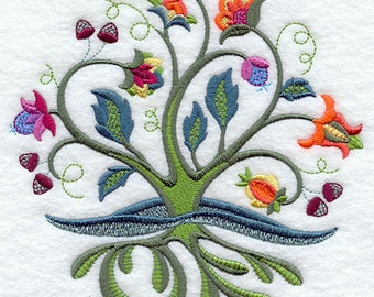 Jacobean Tree of Life Embroidered Flour Sack Hand/Dish Towel