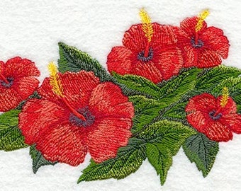 Hibiscus Tropical Flower Bunch Embroidered Flour Sack Hand/Dish Towel