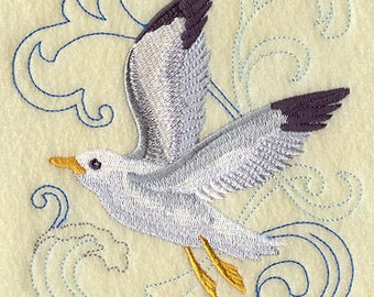 Seagull Above the Sea Embroidered Flour Sack Hand/Dish Towel