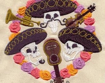 Mariachi Trio Mexican Culture Dia De Los Muertos Embroidered Flour Sack Hand Towel