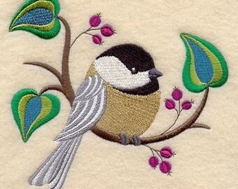 Chickadee Embroidered Flour Sack Hand/Dish Towel