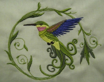 Elegant Damask Hummingbird Embroidered Flour Sack Hand/Dish Towel