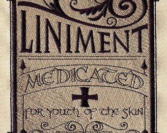 Apothecary Liniment Embroidered Flour Sack Hand/Dish Towel