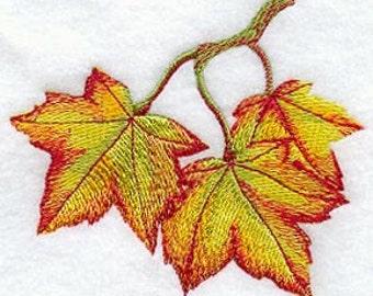 Elegant Maple Leaves Embroidered Flour Sack Hand Towel