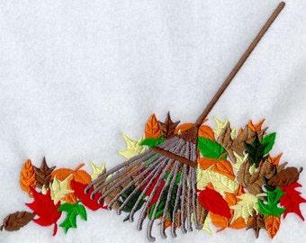Raking Maple Leaves Embroidered Flour Sack Hand Towel