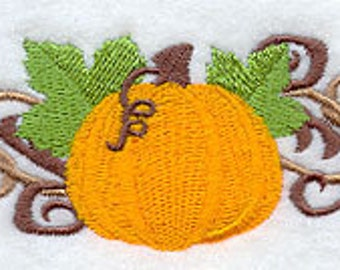 Fall Filigree Pumpkin Border Embroidered Flour Sack Hand/Dish Towel
