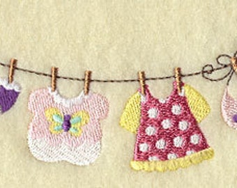 Baby Girl Clothesline Embroidered Flour Sack Hand/Dish Towel