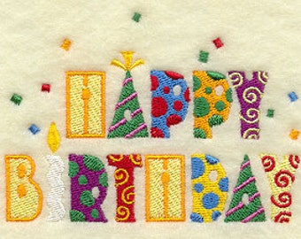 Happy Birthday Message Embroidered Flour Sack Hand/Dish Towel